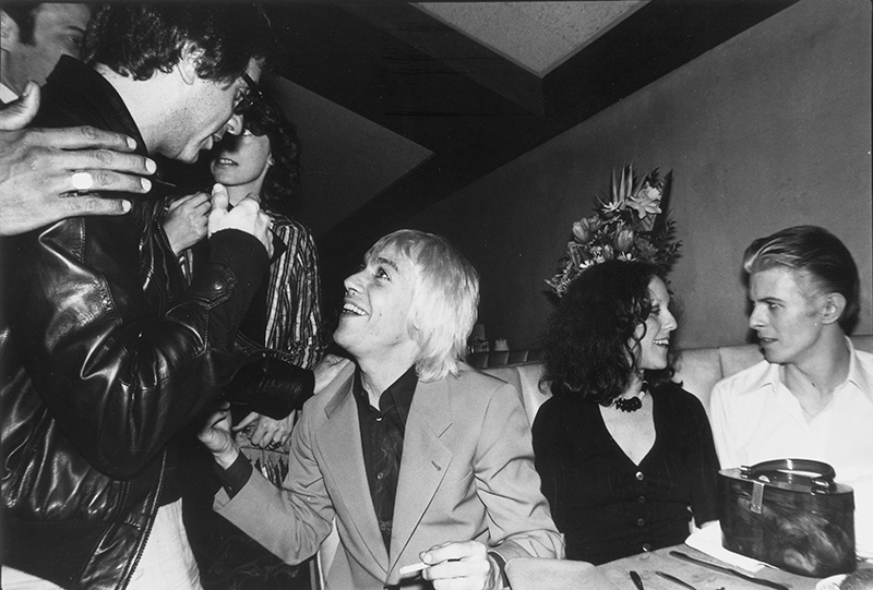 Danny Fields, Iggy Pop, Lisa Robinson, and David Bowie in DANNY SAYS, a Magnolia Pictures release. Photo courtesy of Magnolia Pictures.